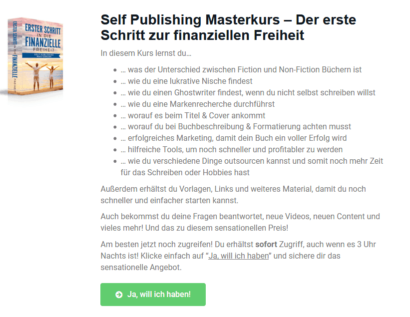 self publishing masterkurs passives Einkommen